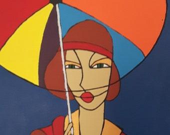 Original Art Deco style acrylic painting on canvas - Lady with Umbrella