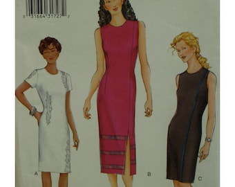 Fitted Dress Pattern, Straight, Side Slit,  Sleeveless/Short Sleeves, Jewel Neck, Lined, Vogue No. 7284 UNCUT Size 8 10 12 OR 14 16 18