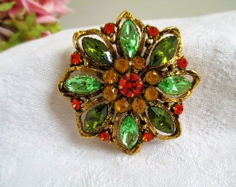 Vintage Flower Brooch Peridot, Amber and Orange Rhinestone Brooch PIN Collectors Piece GORGEOUS Treasury Piece Collectors Item