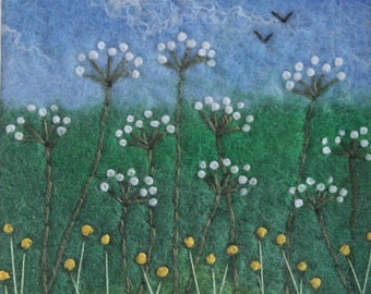 Wet-Felted And Hand-Embroidered Flower Picture.