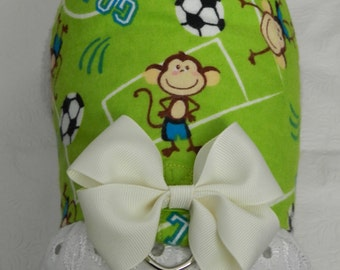 Super Monkey Mascot! Green Soccer Team Sport Goal Theme Harness with Bow & Lace. Custom made for your Cat, Dog or Ferret.