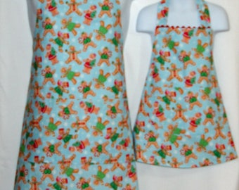Matching Mommy Daughter Christmas Apron, Gingerbread Kids, Customize Gift, Personalized  With Name, No Shipping Fee, Ships TODAY 1170