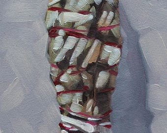 "Framed Miniature Oil Painting of Sage Smudge Stick, Original Contemporary Still Life Art, Southwestern Art - ""Smudge Stick"""