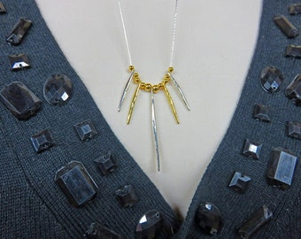 Gold and Silver Necklace - Sterling Silver and Vermeil Necklace - 13-Inch Long Gold & Silver Necklace