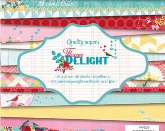 Block paper 15 x 15 - 36feuilles - 170g - Flower Delight - PPFD22