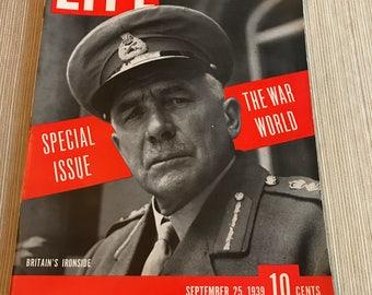 Life Magazine September 25,1939 Ironside Cover/The War World/Modern Warfare