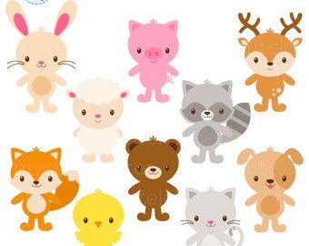 Cute Animals Clipart Set - standing animals clip art, rabbit, sheep, deer, fox, cat - personal use, small commercial use, instant download