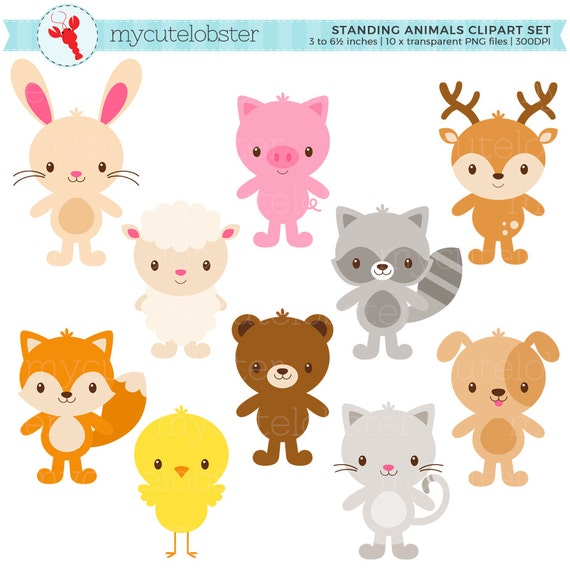 cute animals clipart set standing animals clip art rabbit rh etsy com cute animal clipart free cute animal clip art printables