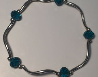 Silver & Blue Beaded Bracelet