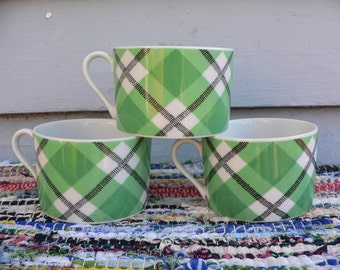Vintage Fitz and Floyd Tea Cups Plaid Green Three 3 Cups