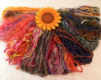 Art Yarn Assortment Falling Leaves Colorway, Plush, Card Making, Weaving and Art Quilting Materials- Ready to Ship