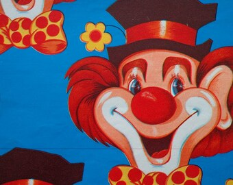 Vintage 1970s Gift Wrap -- Big Clown Face on Bright Blue--1 Sheet Wrapping Paper