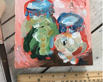 Small Pickle Art - Acrylic Painting on Canvas, miniature art