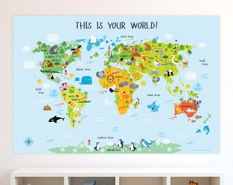 Kids world map etsy classroom posters kids world map poster classroom decor classroom decoration playroom decor classroom art teacher classroom decor gumiabroncs Gallery