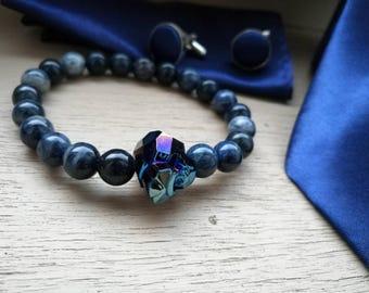 Swarovski panther bracelet, Men blue beads bracelet, Men's bracelet, Women bracelet, Beaded bracelet, Jasper stone bracelet, Gift for men