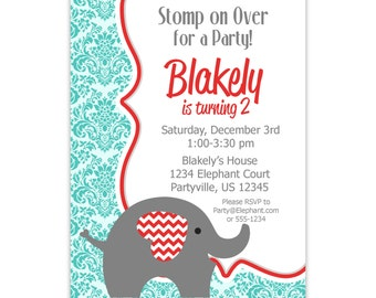 Elephant Invitation - Gray, Red, Turquoise Damask, Cute Little Elephant Personalized First Birthday Party Invite - a Digital Printable File