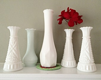 White Milk Glass Wedding Vases 7 Assorted Vase Collection