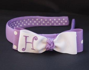 Girls' Initial Headband and Bow - Purple Princess
