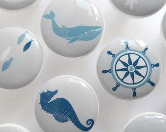 Nautical Knobs, Blue and Gray Nautical Themed Drawer Knobs - 1 1/2 Inches