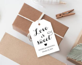 Printable Tags - Dessert Favor Tags - Instant Download Editable PDF - Calligraphy Script - Love is Sweet Wedding tags - 2x3 inches - #GD1306