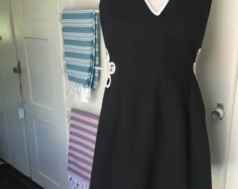 90's Flower Child Black & White Halter Dress w/ Cutouts