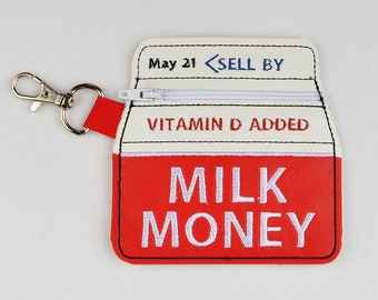 Milk Money zipper bag ITH 4x4 machine embroidery design