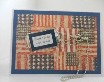 Military Thank You card-Honor Flight card-Veterans Day card-dog tag card-Army card-Navy card-Marines card-Air Force card-Coast Guard card