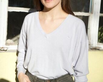 Super Soft Light Grey/Lilac V-Neck Sweater- Size Large