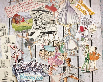 25 Ballerina cut out drawings, ephemera, scrap booking, art supply