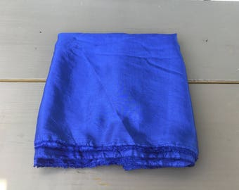 Blue crinkle vintage fabric poly pillow curtain top