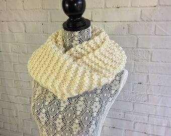 Cream hand knitted wool infinity scarf / gifts for her / chunky knit scarf / gifts for teens / women's scarf / knit scarf / ready to ship /