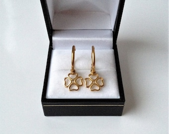 18ct Gold Plated Heart Shaped Four Leaf Clover Hoop Earrings.