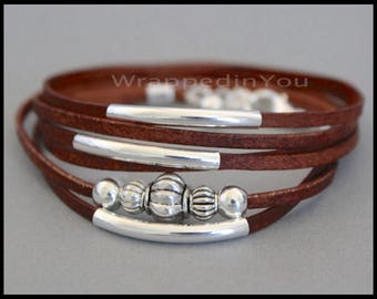 LEATHER Wrap Bracelet - Silver Beaded Tube Triple Wrapped Natural Real FLAT Leather Cord Bracelet - Adjustable Boho Leather Wrap Bracelet 78