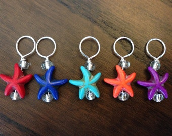 Set of 5  Stitch Markers - Stone Starfish with glass seed beads