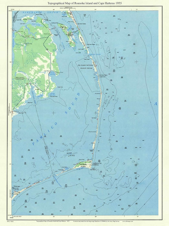 Roanoke Island Cape Hatteras 1955 Old Topographic Map USGS