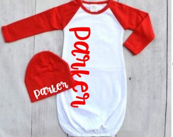 Unique newborn outfit coming home outfit baby shower gift newborn gown coming home outfit boys newborn outfit baby raglan newborn boy negle Images