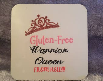 Personalised coaster gluten free design