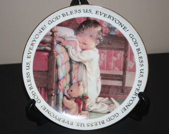 1992 American Greetings Collector Plate, God Bless Us , Everyone, Christmas Blessings