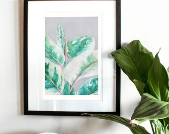 Leafy Greens Print, Watercolour, Fine art print, Home and interior, Plants