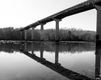 Black and white prints, water, river, digital photography, fine art, wall decor, bridge, landscapes