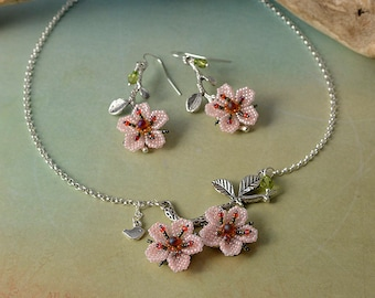 Cherry blossoms spring flower earrings & necklace with bird