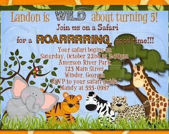 Safari invite, Jungle invitation, Safari birthday Invitation, Jungle animals invite, safari birthday, jungle birthday party -Digital File