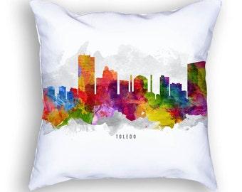 Toledo Pillow, 18x18, Toledo Skyline, Toledo Cityscape, Toledo Cushion, Toledo Pillow, Throw Pillow, Home Decor, Gift Idea, Pillow Case 13