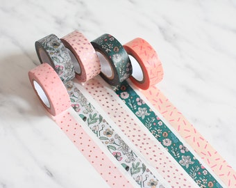 Washi tape set, Flower washi tape, floral washi tape, Mint green washi tape, greenery masking tape, blush masking tape, blush gold washi