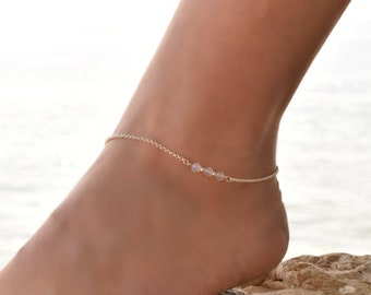 Dainty Anklet, Moonstone Anklet Sterling Silver, Anklet, Delicate Anklet bracelet, Dainty Anklet Silver, Bead Anklet Chain, Anklet for Women