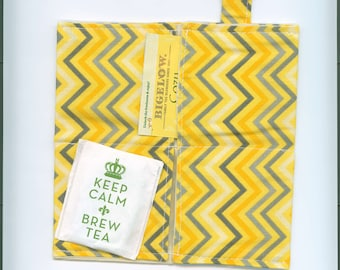 Tea Bag Wallet, YELLOW ZIG ZAGS, Four Pockets,Handmade,Fabric FREe Shipping USa, Holds Tea & Sweetener - Also Travel Jewelry Wallet