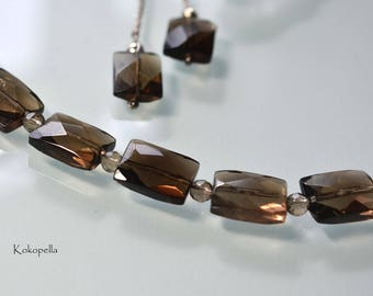 Gemstone Necklace Set with Earrings, smoky quartz faceted, Design by Kokopella