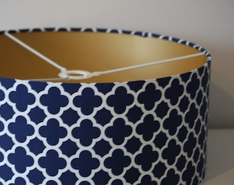 Lovely Handmade Drum Lamp Shade Covered In Navy Riley Blake Quatrefoil With Choice  Of Lining Colour