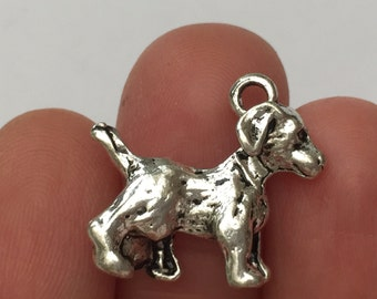 4 Dog charms Antique Silver - DOG12