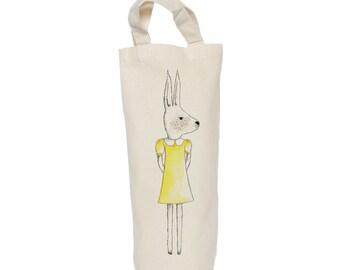 Wine tote, bottle bag, rabbit cotton bag, gift bag,